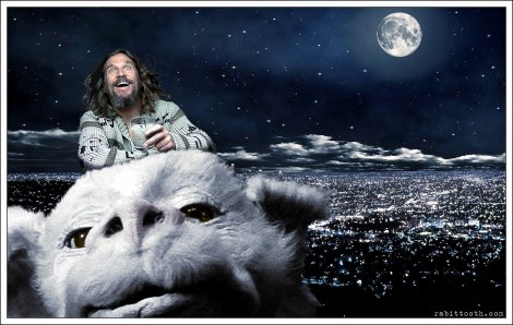 dude_riding_falcor__lebowski___neverending_story__by_rabittooth-d5s0b1c